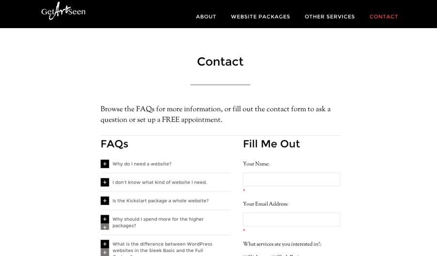 Contact & FAQ Page