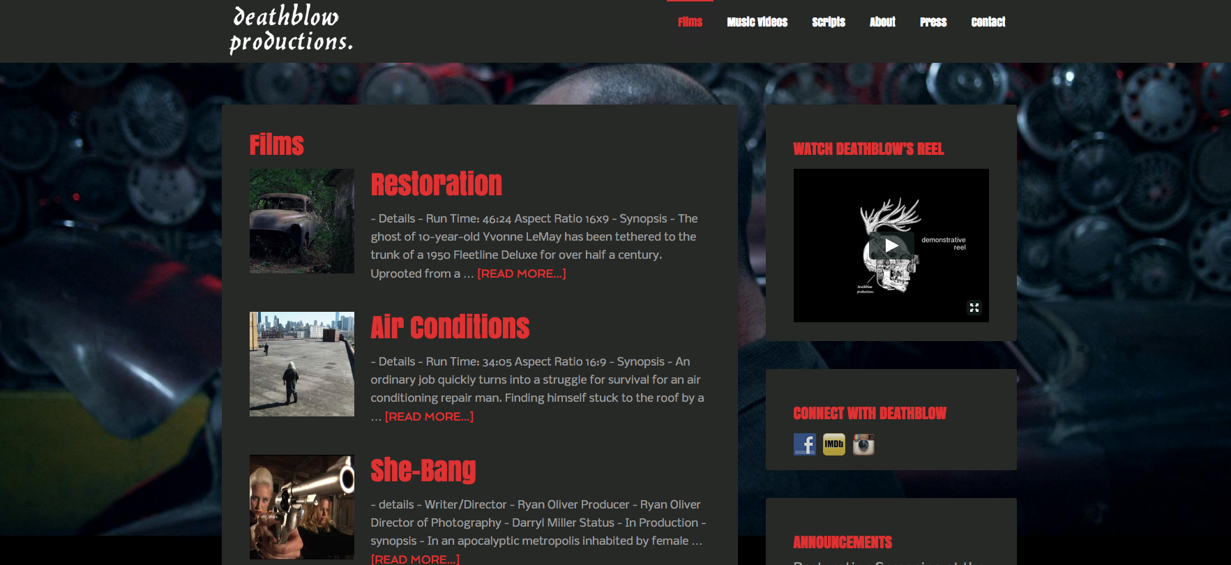 Horror Production Company Website