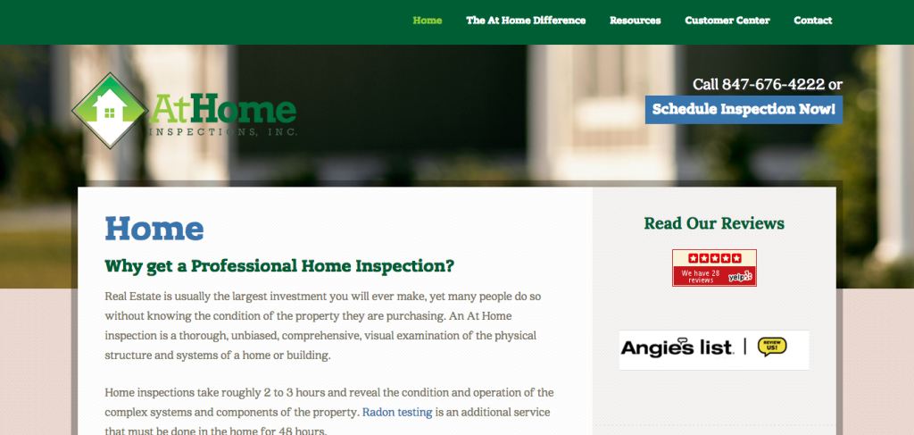 At Home Inspections – A Modern Service Business Website